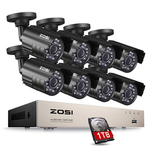 ZOSI Wired 8 Channel HD-TVI 720P Video DVR Security System 8 x HD  Indoor/Outdoor Cameras