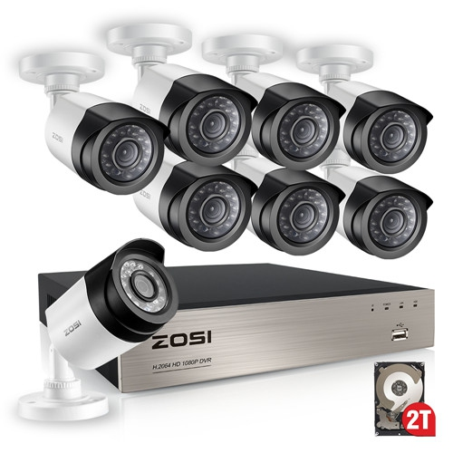 ZOSI FULL 1080P HD-TVI Video Security System 8 Channel DVR Receiver 8 2 0MP  Weatherproof Bullet Cameras 2TB Hard Drive