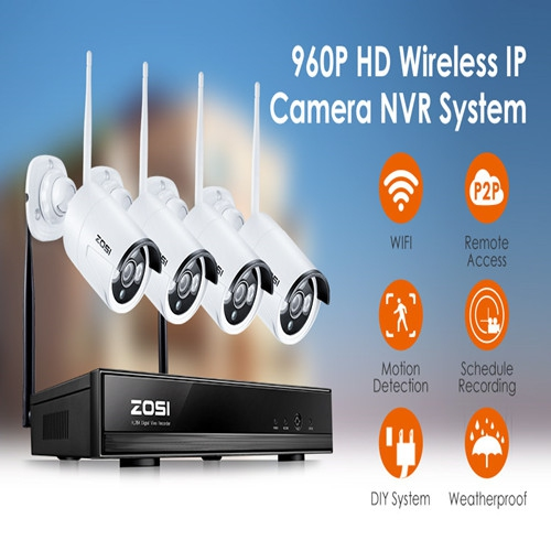 ZOSI Security Camera System Wireless 4CH 1080P NVR with (4) 960P HD  Weatherproof IP Surveillance Cameras