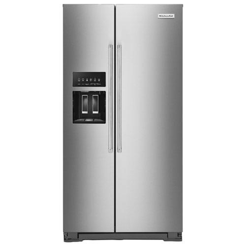 Réfrigérateur congél. juxt. profondeur comptoir 36 po distrib. glace KitchenAid - Inox
