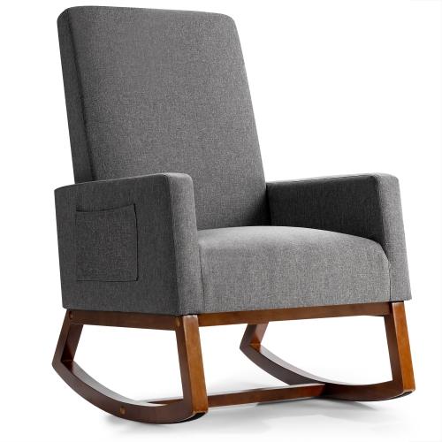 Costway Mid Century Retro Fabric Upholstered Rocking Chair Nursery Armchair Gray