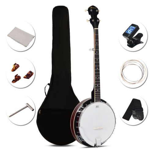 5 String Geared Tunable Banjo 24 Brackets Closed Back Remo Head w/ Case