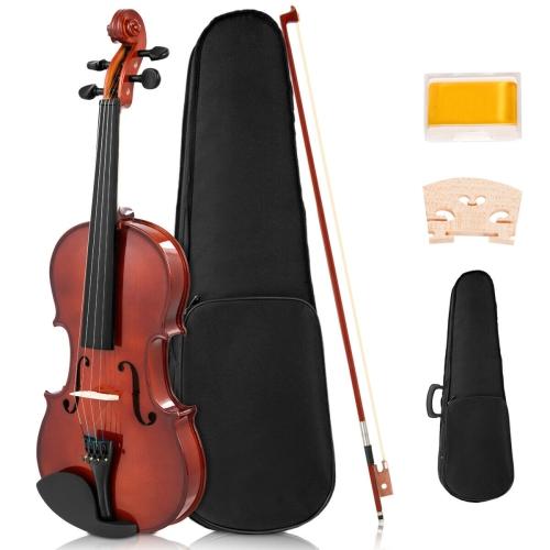 Full Size 4/4 Violin Solid Wood w/ Hard Case Bow Rosin Bridge Student Starter