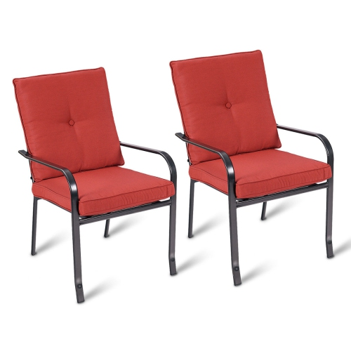 2pcs Patio Garden Chairs Steel Frame Outdoor Dining Furniture W Red