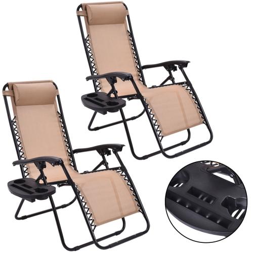 Lot de 2 chaises longues avec porte-gobelets