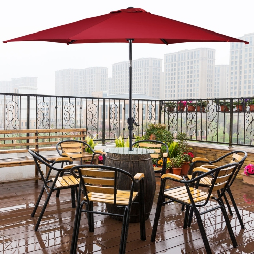 10FT Patio Umbrella 6 Ribs Market Steel Tilt W/ Crank Outdoor Garden Burgundy  sc 1 st  Best Buy Canada : crank patio umbrellas - thejasonspencertrust.org
