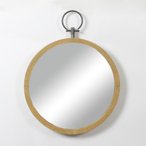 Wooden Frame Round Mirror With Ring, Round Wood Frame Mirror Canada