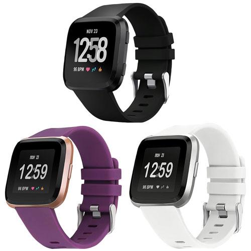 StrapsCo Silicone Strap for Fitbit Versa 2 - Black/Purple/White - 3 Pack