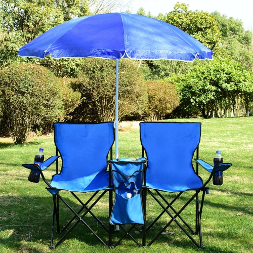 Lot de 2 chaises de camping pliables avec parasol