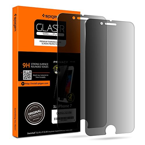Spigen Iphone 7 Screen Protector Tempered Glass Black Privacy 2 Pack Case Friendly For Apple Iphon Best Buy Canada