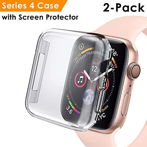 huge discount 92948 f72c0 EZCO 2-Pack Compatible Apple Watch Series 4 Case 44mm 40mm, Soft TPU  All-Around Screen Protector Cov
