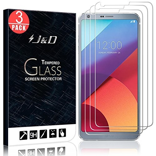 LG G6 Screen Protector, J&D Glass Screen Protector [Tempered Glass] HD  Clear Ballistic Glass Screen