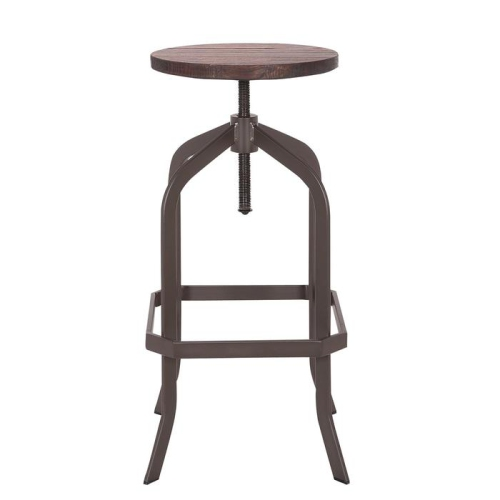 Magnificent Bronte Living Swivel Adjustable Bar And Counter Metal Stool With Elm Wood Seat And Backless Industrial Style 1 Unit Pabps2019 Chair Design Images Pabps2019Com