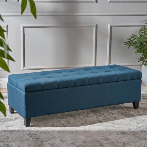 Enjoyable Marla Dark Blue Fabric Storage Ottoman Caraccident5 Cool Chair Designs And Ideas Caraccident5Info