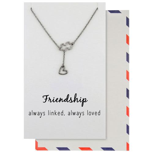 Chaîne en inox de 18 po avec pendentif en étain Friendship, Always de Save the Moment