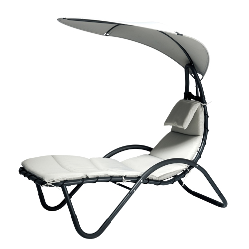 Outsunny Garden Lounge Chaise W Canopy Cream Best Buy Canada