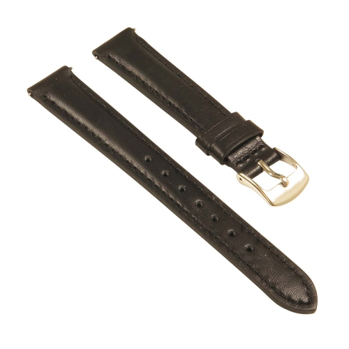StrapsCo Classic Ladies Leather Watch Band - Quick Release Women's Strap - 24mm Black