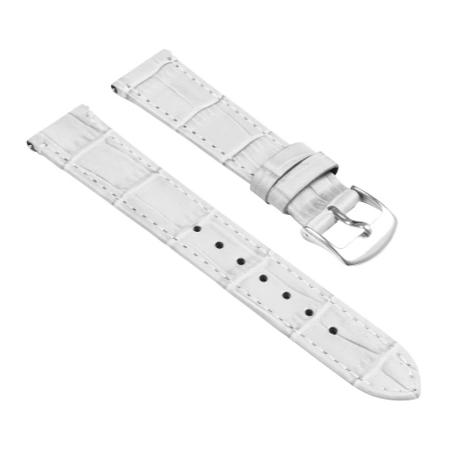 a4e9ef0b8c9 StrapsCo Crocodile Embossed Ladies Leather Watch Band - Quick Release  Women s Strap - 14mm White - Online Only