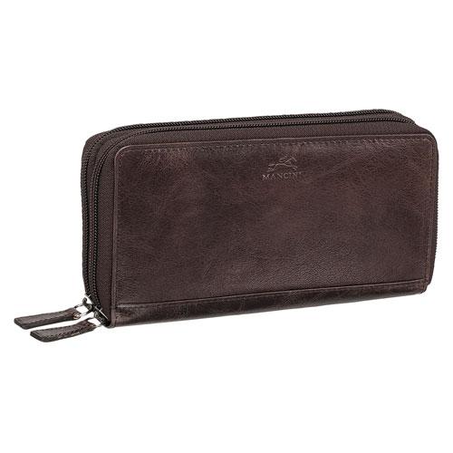 Mancini Bridge RFID Leather Bi-fold Double-Zipper Wallet - Dark Brown