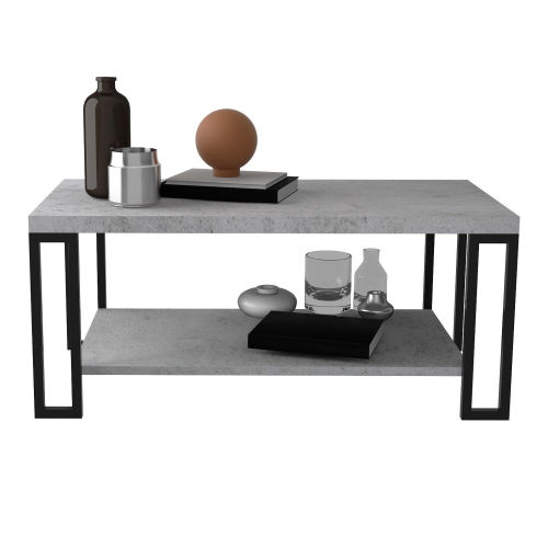 Gymax Coffee Table Metal Frame Accent Cocktail Table w/ Storage Shelf Cement Color