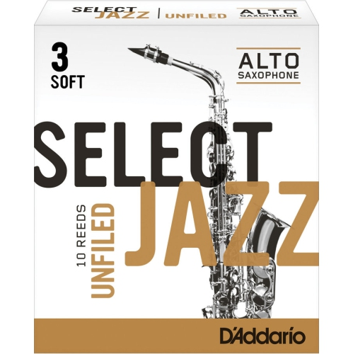 D'Addario Select Jazz Alto Saxophone Unfiled Reeds - 3 Soft, 10 Box
