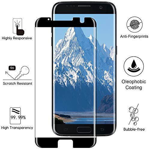 Case Friendly 3D Curved Full Cover Tempered Glass Screen Protector for Samsung S7, Black