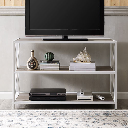 "Winmoor Home 40"" 2-Shelf MDF Bookcase - Grey Wash/White Metal"