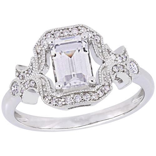 Bague En Or Jaune 18 Carats Fine Jewelry Zirconium Et Saphir Synthétiques