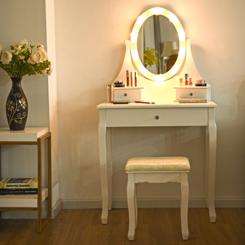 Gymax 3 Drawers Bedroom Vanity Makeup, Led Mirror Dressing Table And Stool