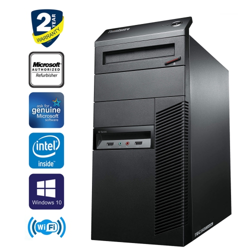 Lenovo ThinkCentre M91p Tower i5 2400 8GB RAM 128GB SSD+NEW 6TB HDD DVD  Windows10 Home HDMI WiFi Tecnocanada Refurbished
