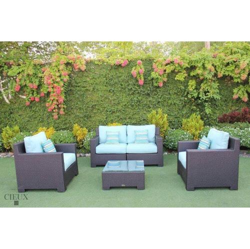 Superb Cieux Provence Outdoor Patio Sunbrella Spectrum Mist Conversation Sofa Set Inzonedesignstudio Interior Chair Design Inzonedesignstudiocom