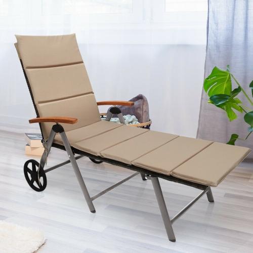 Chaise longue pliante de patio en rotin inclinable avec roue en aluminium marque Gymax