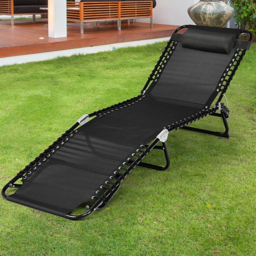 Gymax Foldable Lounge Chaise Adjustable Patio Camping Cot W Pillow Beach Pool Black Best Buy Canada