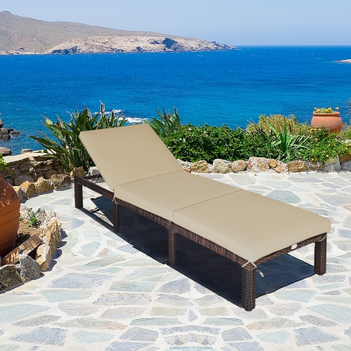 Gymax Patio Rattan Chaise Lounge Chair, Pool Chaise Lounge Chairs Canada