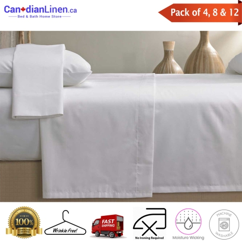 8 Pack Canadian Linen Twin Size Flat T180 Washable Bed Sheet 66