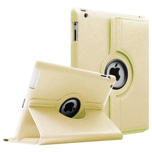 【CSmart】 Rotation PU Cuir Étui Coque pour tablette Couverture de cas intelligente pour iPad 2 / 3 / 4, Or