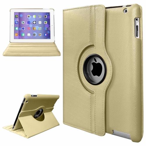 【CSmart】 Rotation PU Cuir Étui Coque pour tablette Couverture de cas intelligente pour iPad Air 2 2014, Or