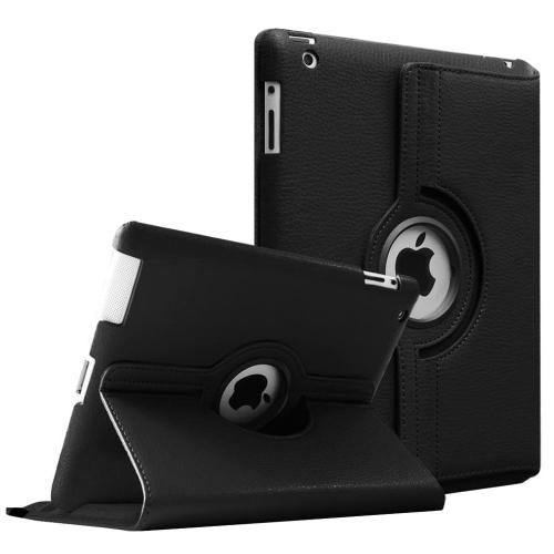 【CSmart】 Rotation PU Cuir Étui Coque pour tablette Couverture de cas intelligente pour iPad 2 / 3 / 4, Noire