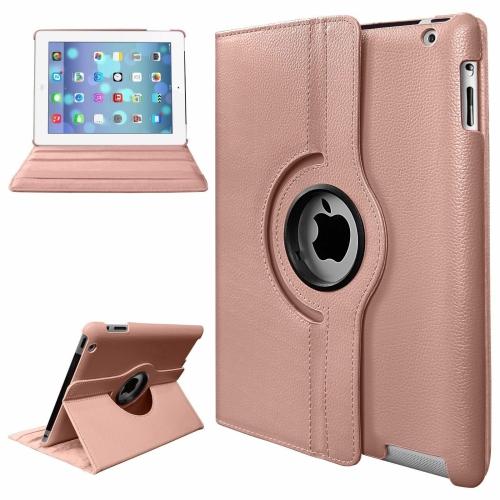 【CSmart】 Rotation PU Cuir Étui Coque pour tablette Couverture de cas intelligente pour iPad Air 1 & New iPad 2017 2018, Rose Or