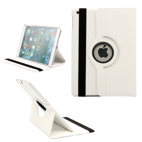 【CSmart】 Rotation PU Cuir Étui Coque pour tablette Couverture de cas intelligente pour iPad Mini 1 / 2 / 3, blanc