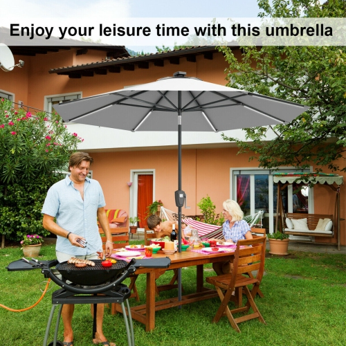 39195bd9784f13 Gymax 9 FT Patio Waterproof Solar Umbrella LED Light Tilt Gray | Best Buy  Canada