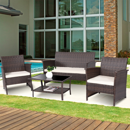Tremendous 4 Pcs Outdoor Patio Rattan Furniture Set Wicker Sofa Table Shelf Cushion Home Interior And Landscaping Mentranervesignezvosmurscom