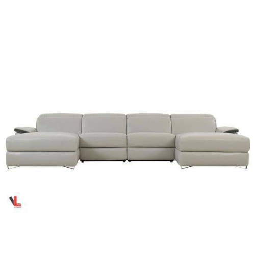 Levoluxe Aura Top Grain Grey Leather Large U-Shaped Sectional