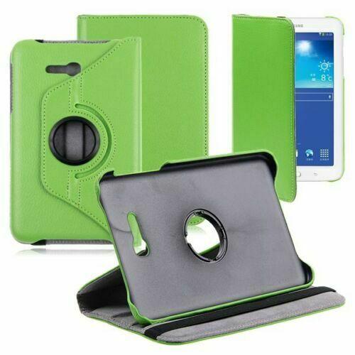 """【CSmart】 Rotation à 360 degrés PU Cuir Étui Coque pour tablette Couverture de cas intelligente pour Samsung Tab E Lite 7.0"""" T110 T113 T115, Vert"""