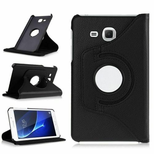 """【CSmart】 Rotation à 360 degrés PU Cuir Étui Coque pour tablette Couverture de cas intelligente pour Samsung Tab A 7.0"""" T280 T285, Noir"""