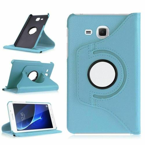 """【CSmart】 Rotation à 360 degrés PU Cuir Étui Coque pour tablette Couverture de cas intelligente pour Samsung Tab A 7.0"""" T280 T285, bleu clair"""