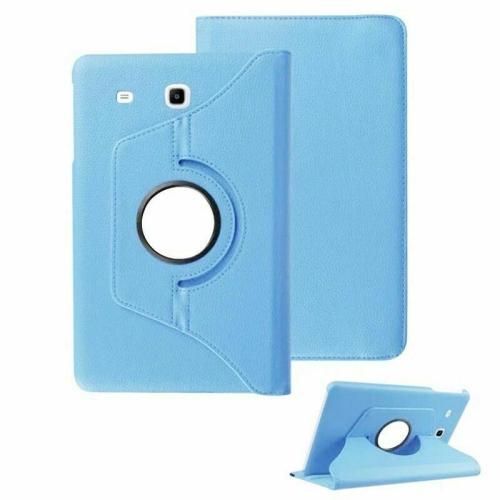 """【CSmart】 Rotation à 360 degrés PU Cuir Étui Coque pour tablette Couverture de cas intelligente pour Samsung Tab E 8.0"""" T375 T377, bleu clair"""