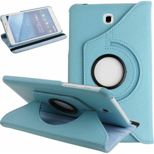 """【CSmart】 Rotation à 360 degrés PU Cuir Étui Coque pour tablette Couverture de cas intelligente pour Samsung Tab 4 7.0"""" T230 T235, bleu clair"""