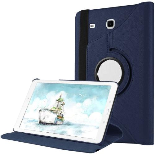 """【CSmart】 Rotation à 360 degrés PU Cuir Étui Coque pour tablette Couverture de cas intelligente pour Samsung Tab E 9,6"""" T560 T561 T565, Marine"""