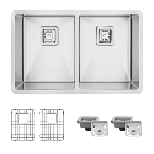 30'' L x 18'' W Double Bowl Undermount Kitchen Sink with Grids and Square Strainers